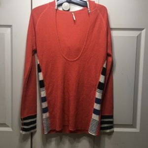 Free People Thermal Hoodie Waffle Knit Cuff Wool L